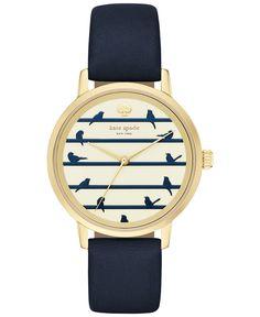 kate spade new york Women's Metro Navy Leather Strap Watch 34mm KSW1022 - Women's Watches - Jewelry & Watches - Macy's