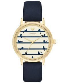 kate spade new york Women's Metro Navy Leather Strap Watch 34mm KSW1022 - Watches - Jewelry & Watches - Macy's