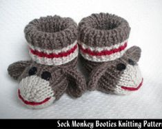 Candy Cane Holiday Baby booties knitting pattern von KNITnPLAY