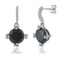 925 Sterling Silver Dangle Earrings In Black Round CZ