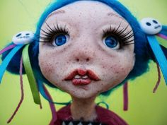 OOAK art doll, poseable, sculpey polymer clay, cute colorful sculpt, by 0TheNeverland on Etsy