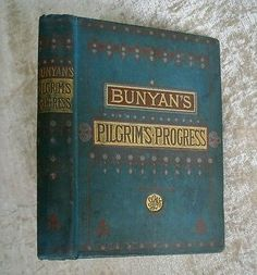 Pilgrim's Progress John Bunyan Illus. Antique 1883 Teal Decor Victorian Binding