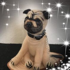 Needle Felted Peter the Pug with collar and lead. Needle Felted Animals, Felt Animals, Needle Felting, Online Pet Supplies, Dog Supplies, Dog Sculpture, Sculptures, Felt Gifts, Felt Dogs