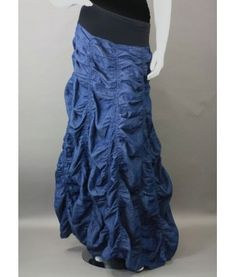 "Genovia  *** Feather light weight ruched maxi long cotton denim skirt features a fold over waist band and may be worn as a dress if needed with any cover up tee. Goes great with any occasion and brings a great trend to the denim look.100% Cotton up to 41"" in length."
