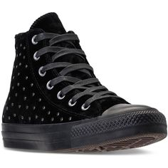 Converse Women's Chuck Taylor Hi Velvet Stud Casual Sneakers from... ($95) ❤ liked on Polyvore featuring shoes, sneakers, vintage shoes, studs shoes, converse footwear, velvet sneakers and studded sneakers