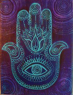 Hamsa or the Hand of Fatima. Original by AliceMasonArtist on Etsy