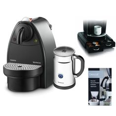 Nespresso C91 Essenza Espresso Machine w/ Aeroccino Automatic Milk Frother Plus - AC91USBKSLV + Coffee Pack Drawer + Coffee/ Espresso Descaler - http://nespressoshop.net/nespresso-c91-essenza-espresso-machine-w-aeroccino-automatic-milk-frother-plus-ac91usbkslv-coffee-pack-drawer-coffee-espresso-descaler