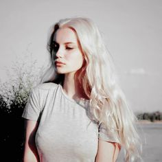 platinum blonde | sunlight | vintage | long hair | white | model | portrait