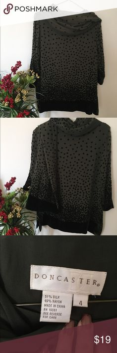 Doncaster Top and Scarf Set Olive green ( dark) and black velvet tunic set. Excellent condition Doncaster Tops Tunics