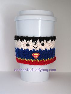 Superman Coffee Cup Cozy by The Enchanted Ladybug on Ravelry ~ FREE - CROCHET