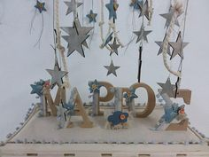 Personalized baby boy baptism gift ornament Letters signs gift ideas Nona godson present Star christening Initial gifts Room decor New born Greek Wedding, Wedding Sets, Baby Boy Baptism Gifts, Star Decorations, Personalized Baby, Handmade Art, Christening, Gift Ideas, Party Ideas