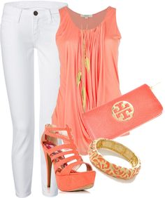 """White pants and coral"" by missyalexandra on Polyvore"