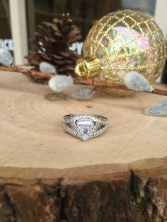 Trillion Cut Diamond Halo Wedding Ring #JewelerByDesign