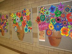 Van Gogh...each student makes a flower for the pot-good collaboration for the whole class