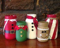 Christmas Mason Jars; Christmas themed Mason jars, Christmas jars, Christmas decor, mason jar decor, santa jar, elf jar, snowman jar
