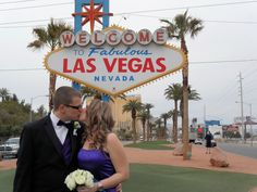 one of our after wedding shots at the welcome to las vegas sign!