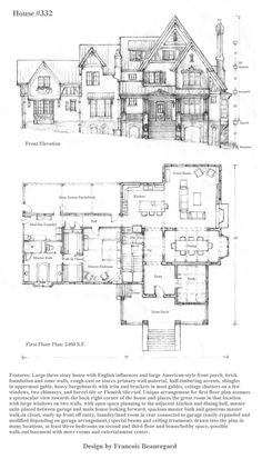 A big one! At 2400 square feet on the first floor and a second, third, and basement floor to design, this will be a king-size house. Front elevation and floor plan drawn in pencil in scale 1/16th i...