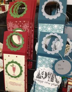 Wine bottle tags - great also for labeling gifty bottles of homemade soaps, flavored oils, etc. Beautiful and simple homemade gifts...