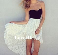 White and Black Prom Dress, Lace Prom Dress, High Low Hem Prom Dresses 2014, Custom Made Sweetheart Neckline Hi-Lo Prom Dress