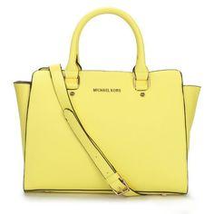 Michael Kors Selma Top-Zip Large Yellow Satchels Outlet