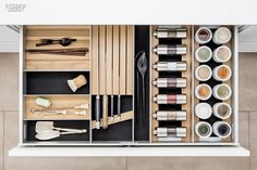 SieMatic aluminum kitchen interior accessories in light oak offer space for spice mills, porcelain jars and knives. Wood Drawers, Kitchen Drawers, Kitchen Cabinetry, Interior Accessories, Kitchen Accessories, Kitchen Furniture, Kitchen Interior, Kitchen Organization, Kitchen Storage