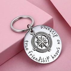 """True friendship knows no distance"" long distance friendship quote keychain"