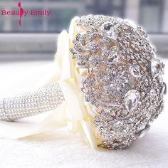 2017 Crystal Bridal Bouquet Wedding Flower Accessory Hand Holding Buque Noiva Ramo De Flores Novia High quality Brooch #Affiliate