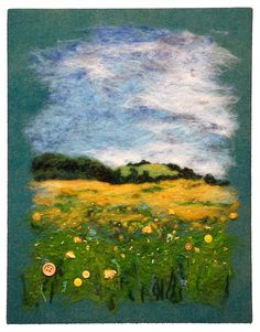 'Springfield Dandelions' by Alison Murphy. Hand-dyed wool, mohair and recycled buttons.