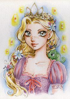 hellyeahtangled:  Princess Rapunzel by *lilie-morhiril