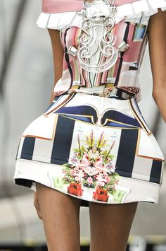 Mary Katrantzou dress printed with images of lavish hotel interiors and embellished with interior-decorator trimmings.