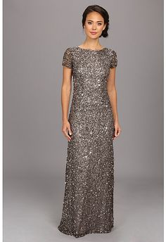 Adrianna Papell Cap Sleeve Scoop Back Beaded Down Dress on shopstyle.com