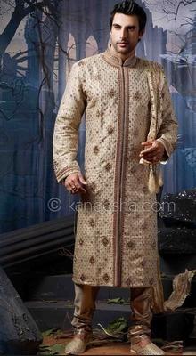 Beige Jacquard Embellished Sherwani Suit