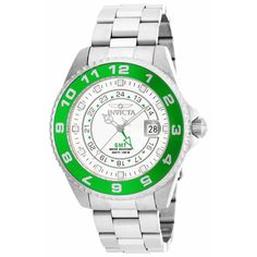 Invicta 17134 Mens Pro Diver White Dial Green Bezel GMT Dive Watch,    #Invicta,    #Invicta17134