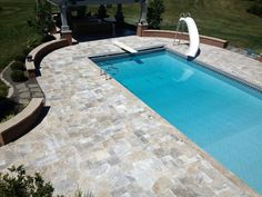 Silver travertine patio overlay
