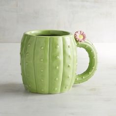 Pier 1 Imports Cactus Mug ($7.16) ❤ liked on Polyvore featuring home, kitchen & dining, drinkware, green, green mug, ceramic mugs and pier 1 imports