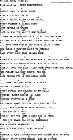 Bobby Mcgee Janis Joplin Chords And Lyrics