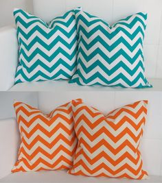 Four Turquoise and Orange Decorative Accent Throw Pillow Covers for  Pillows Four. $70.00, via Etsy. (jr high room)
