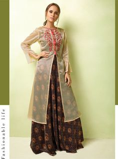 D.NO.-TC-17007_1 - KARMA TUCUTE VOL 17 KARMA TC-17001 TO TC-17008 SERIES - DStyle Icon Fashion Designer Gowns, Designer Wear, Western Kurtis, Peach Party, Printed Gowns, Party Wear Lehenga, Floor Length Gown, Embroidery Dress, Occasion Wear