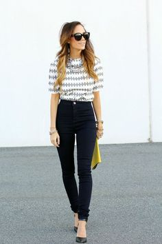 tucked shirt and high waist jeans