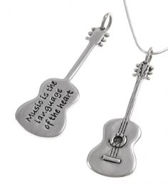 Blue Turtles Poetic Pieces Pendant - GUITAR - Sterling Silver
