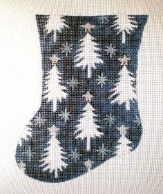 mini Pine Forest Stocking needlepoint canvas by colors1 on Etsy
