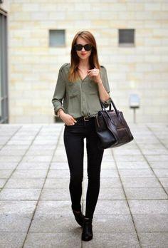 tenue professionnelle femme, vision simple en kaki et noir