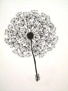 OOAK Dandelion Doodle/Zendoodle/Zentangle. $10.00, via Etsy.