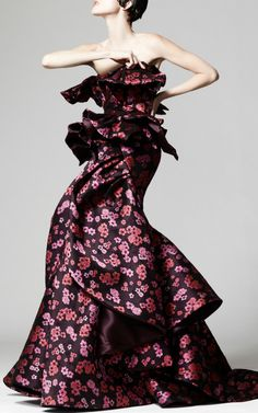 Floral Jacquard Cascade Gown by Zac Posen for Preorder on Moda Operandi