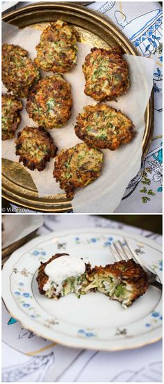 Feta and Zucchini Fritters with Garlic Yogurt Sauce.it'll be zucchini season before you know it! Side Dish Recipes, Vegetable Recipes, Vegetarian Recipes, Cooking Recipes, Healthy Recipes, Great Recipes, Side Dishes, Yogurt Sauce, Dill Sauce