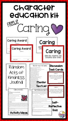 This Caring Kit Freebie is a month long unit taken from my Entire Year: Character Education Kit. I love using these materials because it allows you to directly teach important character traits in an active, motivating format. This resource focuses on the very important trait of caring but there are 10 other units in the Character Education Kit, including Respect, Responsibility, Citizenship, Courage, Fairness, Giving, Gratitude, Perseverance, Self-Discipline, and Trustworthiness.