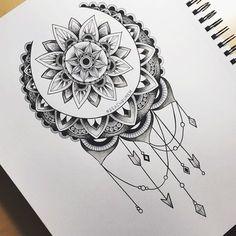 My 2 Favorite things, the sun and the moon - Tattoo MAG Mandala Sonne Tattoo, Tattoos Mandala, Mandala Tattoo Design, Flower Tattoos, Piercing Tattoo, Arm Tattoo, Wrist Tattoos, Tattoo Flash, Tattos