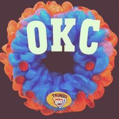 OKC Thunder wreath made from Hobby Lobby floral, scrapbooking & craft supplies!