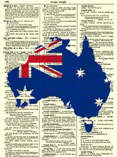 Australian Flag and Map Art Print Australia by reimaginationprints, $10.00