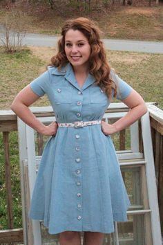 Sew for Victory–Simplicity 4036 Chambray Shirtwaist Dress: I would love to make this in four or more colors!!